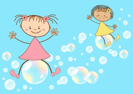 Children fly on soap bubbles. Vector illustration. Vector