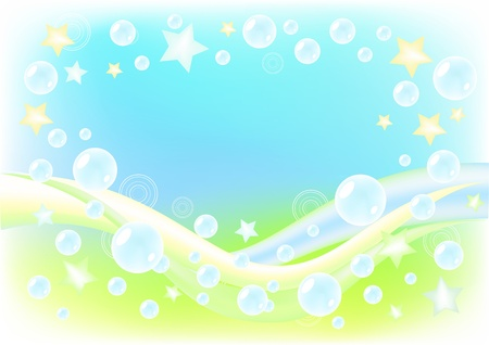 flexure: Air background with soap bubbles. Vector illustration.