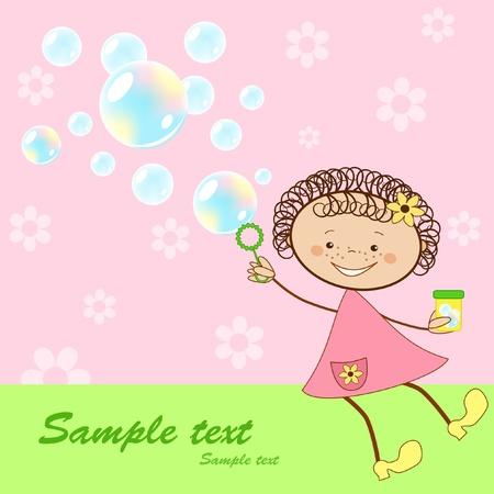 Bebés tarjeta alegre. Ilustración vectorial.
