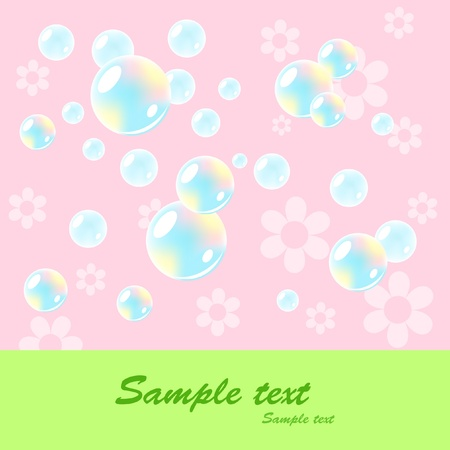 pink bubbles: Cheerful babies card. Vector illustration. Illustration