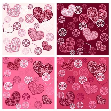 colored backgrounds: Set valentine`s seamless. Vector illustration. Illustration
