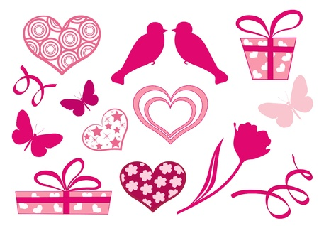 Set design elements of valentine`s day. Vector illustration. Vector
