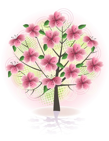 Spring blossom tree. Vector illustration. Vector