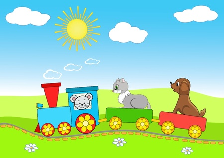 baby toys: Baby train. Cheerful vector illustration.