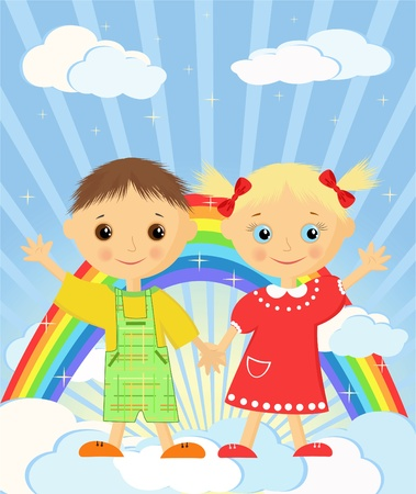 Childrens dreams. Rainbow and sunshine.  Vector illustration. Vector