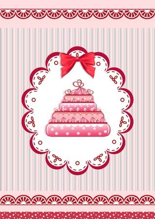 fita: Congratulation card with cake. Vector illustration. Ilustra��o
