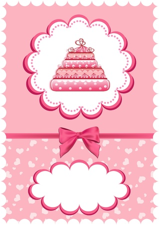 Cheerful babies card with cake. Vector illustration. Vector