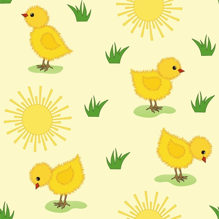 Baby seamless. Chicken and butterfly. Vector. Vector