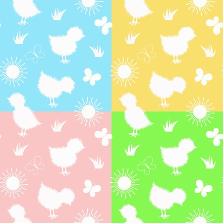 baby toy: Set baby seamless. Chickens and butterfly. Vector.