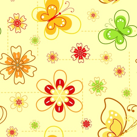 Flowers and butterflies. Spring seamless. Vector illustration. Vector