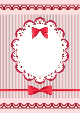 Congratulation card with napkin and bow. Vector illustration. Illustration