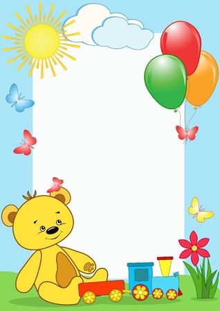 Children`s photo framework. Bear. Vector illustration.