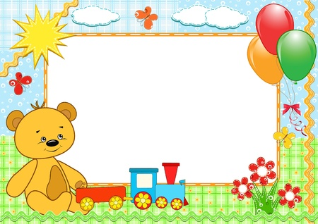 scrapbooking: Children`s photo framework. Bear. Vector illustration.