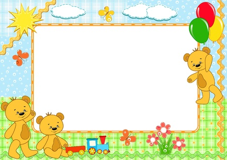 balloon border: Children`s photo framework. Bears. Vector illustration.