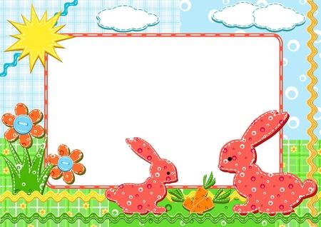 Children`s photo framework. Rabbits. Vector illustration.
