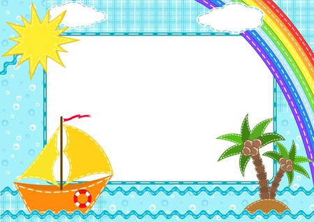 Children`s photo framework. Ship. Vector illustration.
