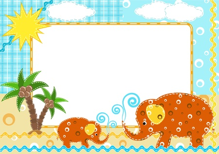 Children`s photo framework. Elephant. Vector illustration.