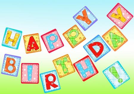 small children: Birthday greetings. Needlework. Vector illustration.