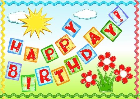 Birthday greetings. Needlework. Vector illustration. Vector