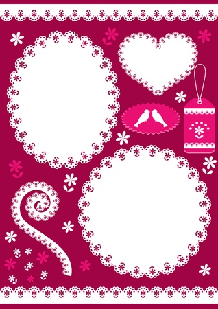 crochet: Set for scrapbook with doily. Vector illustration.