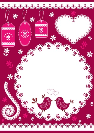 love bird: Set for scrapbook with doily. Vector illustration.