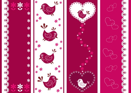 Set for scrapbook with lace. Vector illustration. Vector