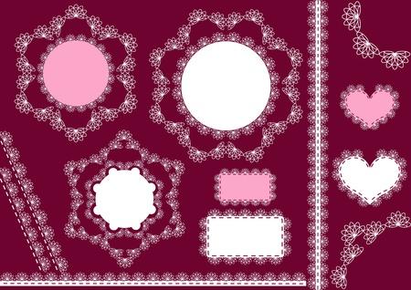 fancywork: Lacy napkins. White lace. Vector illustration. Illustration