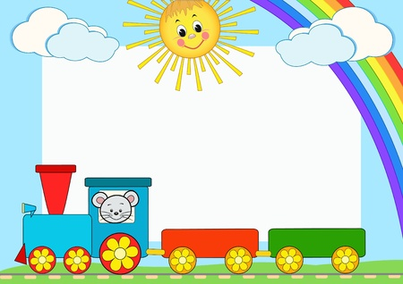steam train: Baby train. Children photo framework. Vector illustration. Illustration