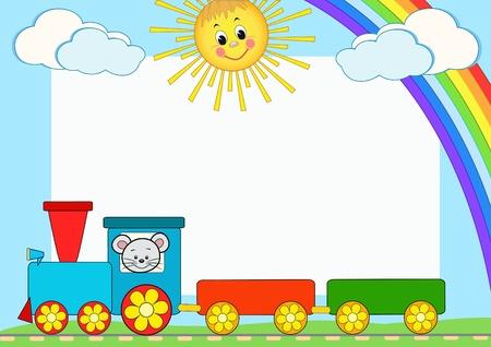 nenes jugando: Beb� del tren. Ni�os marco de fotos. Ilustraci�n vectorial.