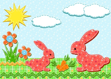 applique flower: Baby card. Rabbits. Vector illustration.