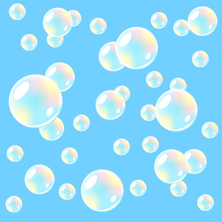 Air background with soap bubbles.  Seamless. Vector illustration. Vector