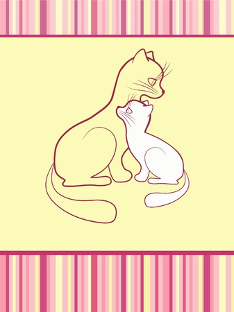 Cheerful babies card. Cats. Vector illustration. Vector