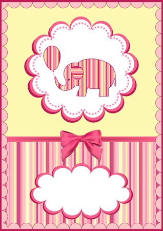 baby arrival:  Baby elephant with balloon.  Vector illustration.