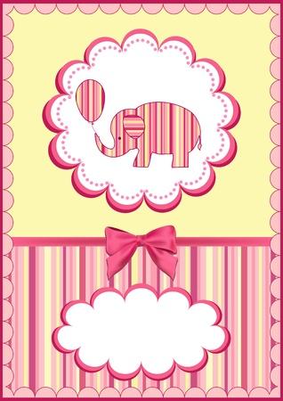 Baby elephant with balloon.  Vector illustration. Vector