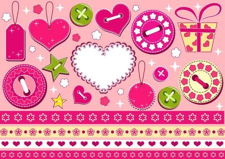 needlework: Collezione di San Valentino per scrapbook. Illustrazione vettoriale. Vettoriali