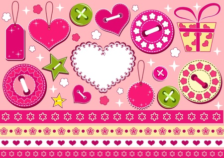 Valentines collection for scrapbook. Vector illustration. Vector