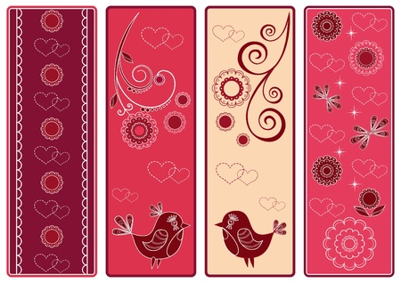 edging: Set Valentines banners with birds. Vector illustration.