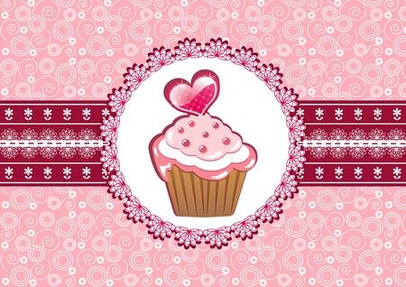 vanilla cupcake: Cupcake on the doily. Vector illustration. Illustration