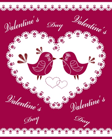 The decorated heart with birds and flowers. Vector illustration. Vector