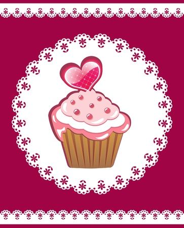 doily: Cupcake on the doily. Vector illustration. Illustration