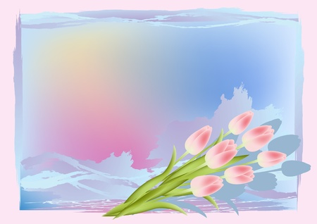 Grunge background with tulips. Vector illustration. Stock Vector - 12195560