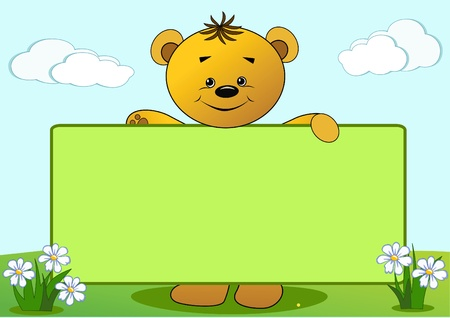 Cartoon funny bear. Vector illustration with place for your text.