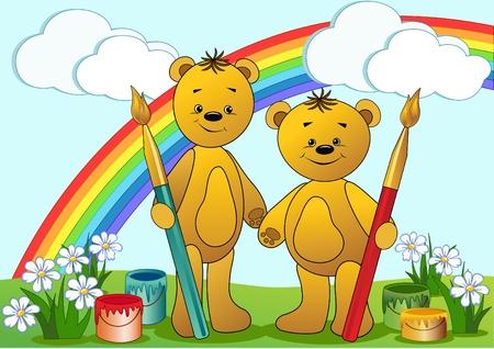 cartoon painter: Cartoon funny bears. Vector illustration.