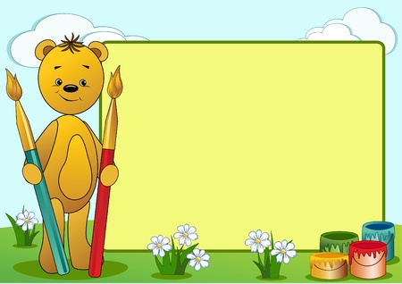 clumsy: Cartoon funny bear. Vector illustration with place for your text.