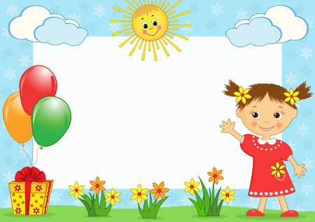 bordures fleurs: Cadre photo les enfants. Vector illustration.