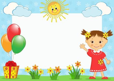 cute border: I bambini foto framework. Illustrazione vettoriale.