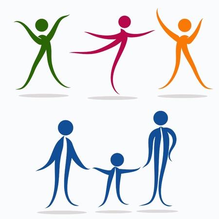 cheerfulness: Healthy people. Sports family.  Vector  illustration. Illustration