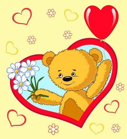 Bear with balloon.  Valentine`s vector illustration. Vector