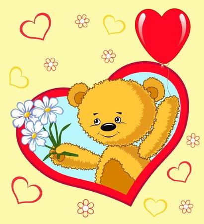 Bear with balloon.  Valentine`s vector illustration.