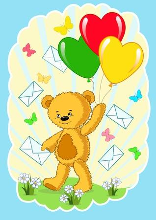 Bear with balloon.  Vector  illustration. Vector